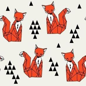 fox // red triangle kids autumn trendy geo geometric fox fabric by andrea lauren