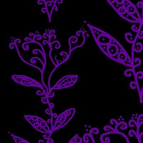 Violet Purple Floral Ivy Vines on Black