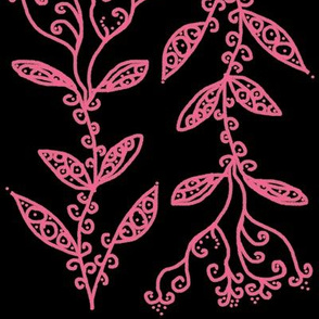 Light Baby Pink Floral Ivy Vines on Black