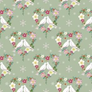 Winter Love Doves on Soft Green