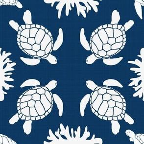 Sea Turtles on Blue Linen Texture