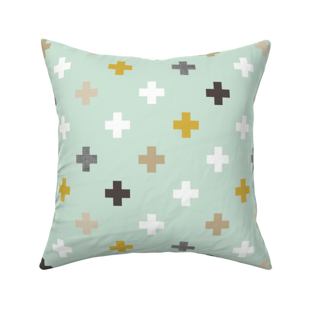 Catalan Throw Pillow featuring mod mint plus by mrshervi