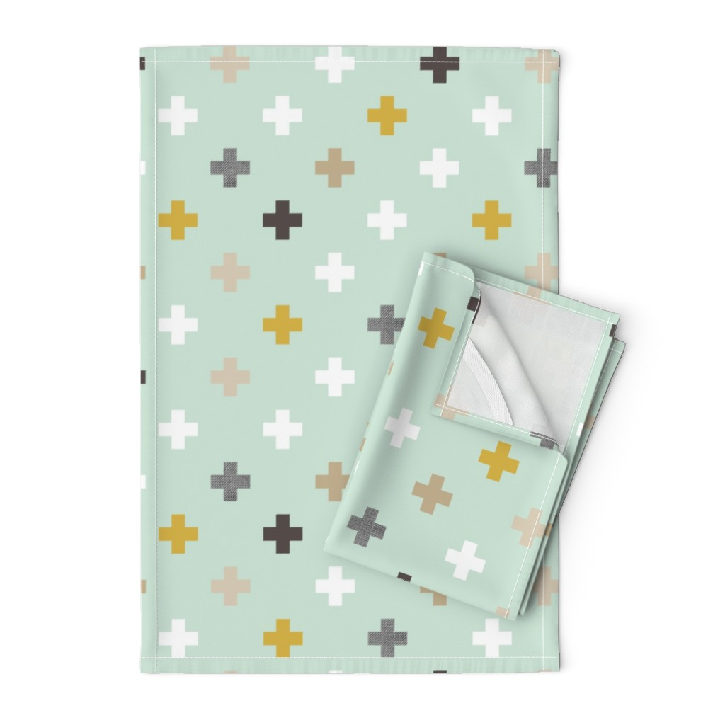 Orpington Tea Towels featuring mod mint plus by mrshervi