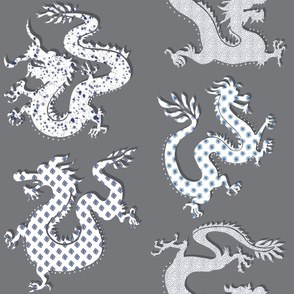 Paper Dragons- charcoal/blues