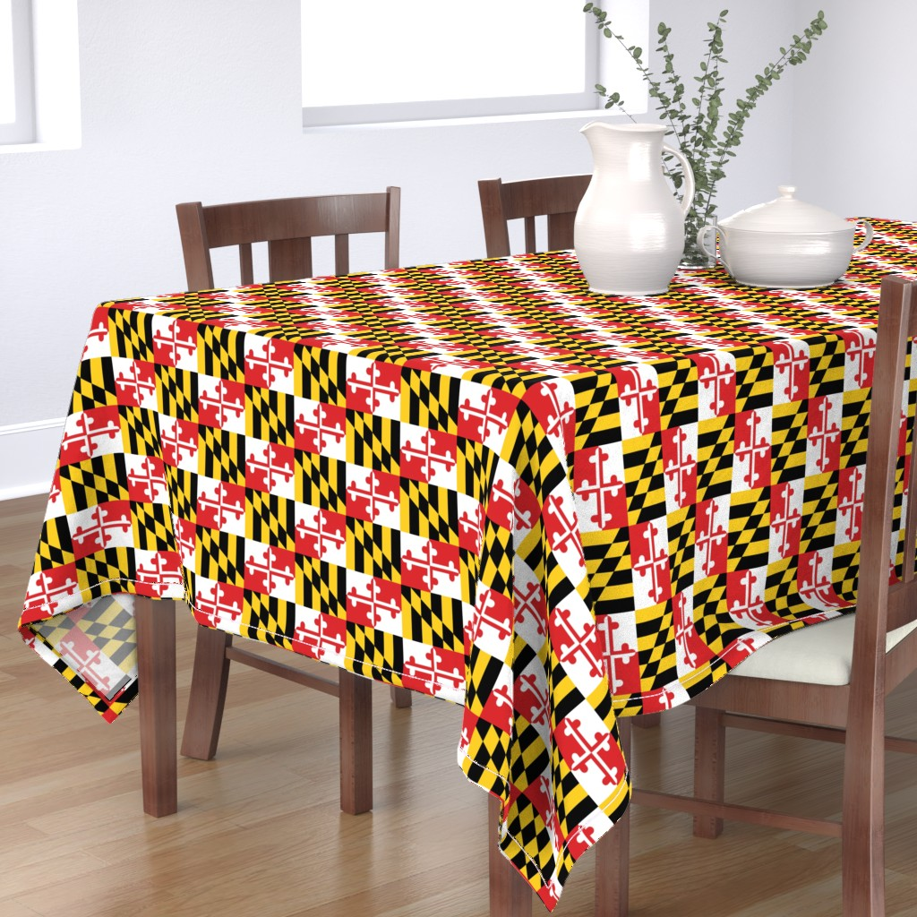 Bantam Rectangular Tablecloth featuring Maryland Flags by elramsay