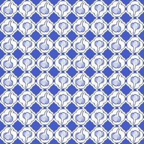 Garlic Trellis Blue and White