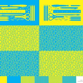 cut & sew pencil case : cyan + yellow