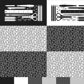 cut & sew pencil case : black + white