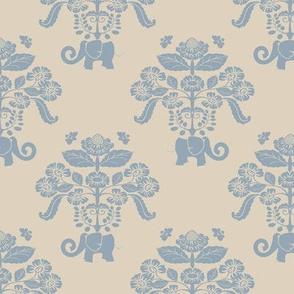 Elephants in My Garden Damask Version 1