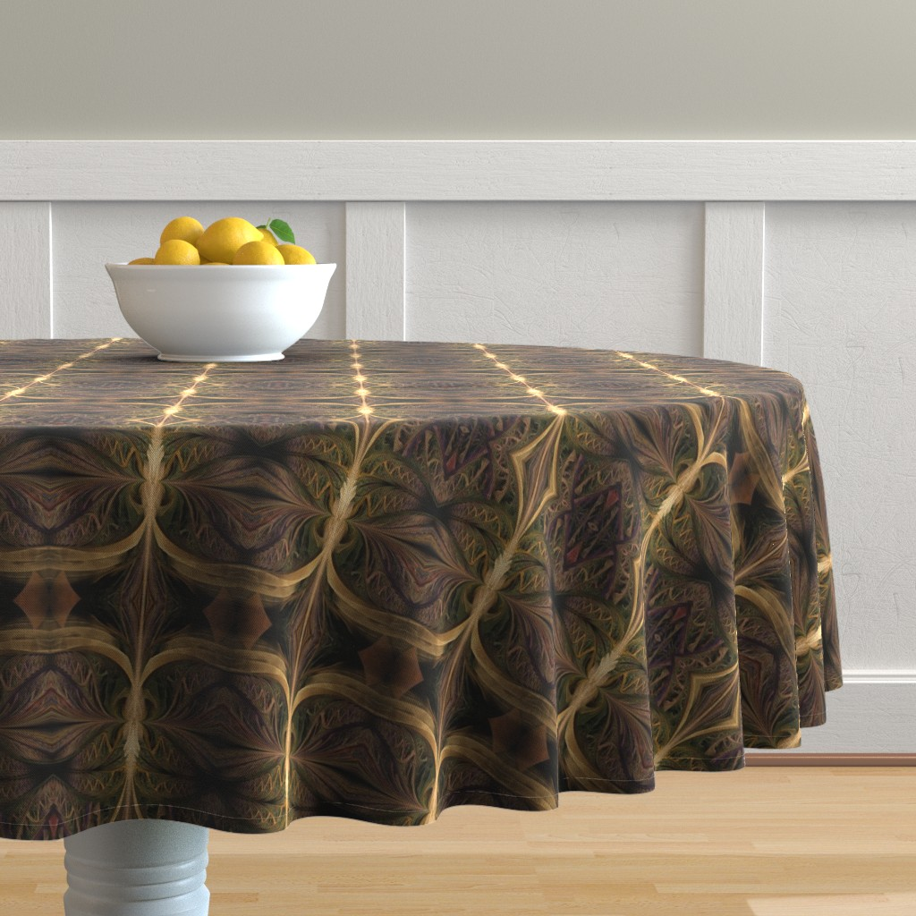 Malay Round Tablecloth featuring jungle tiki by winter