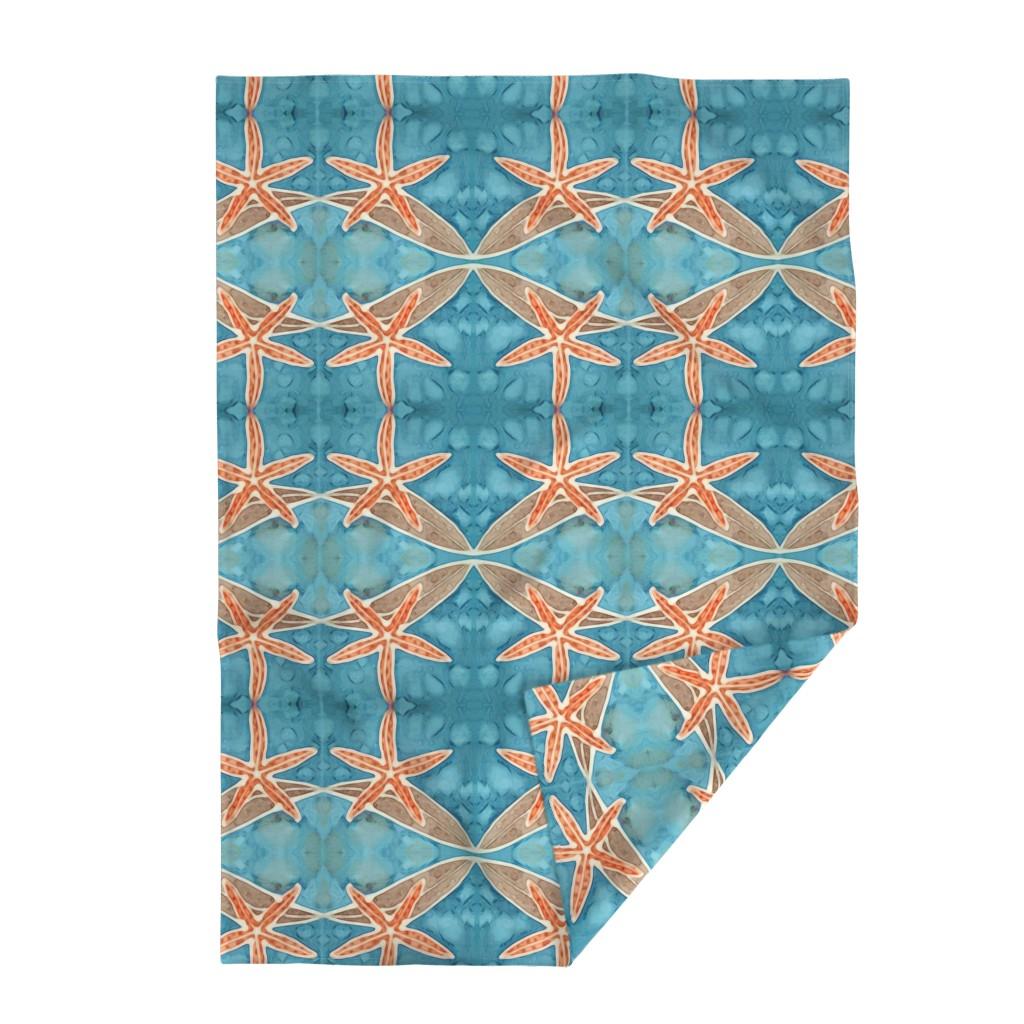 Lakenvelder Throw Blanket featuring Orange Starfish with Brilliant Blue Ocean  by lauriekentdesigns