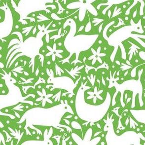 Mexico Springtime: White on Jade (Small Scale)