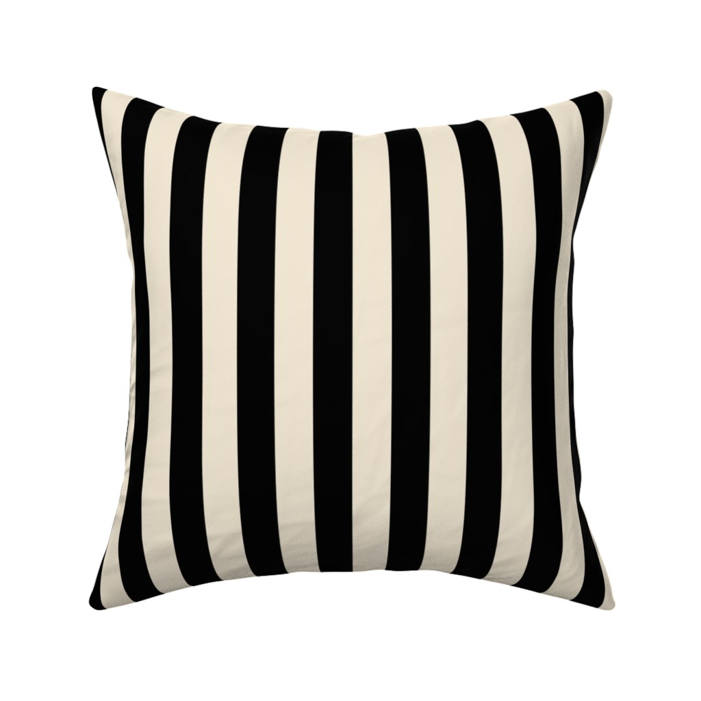 Catalan Throw Pillow featuring Stripes - Cappuccino Cream Tan Black Nautical (.75 inch wide stripes) by bohobear