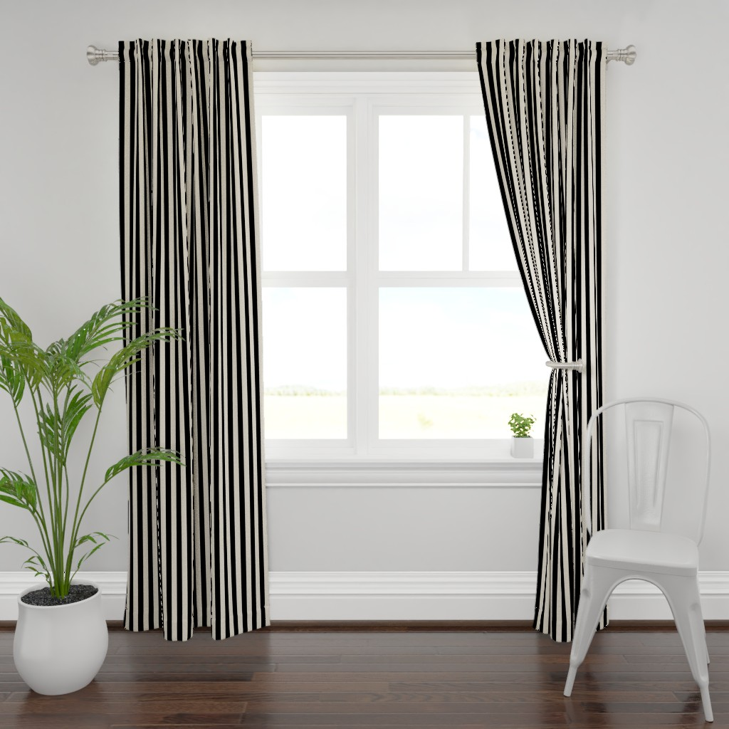 Plymouth Curtain Panel featuring Stripes - Cappuccino Cream Tan Black Nautical (.75 inch wide stripes) by bohobear