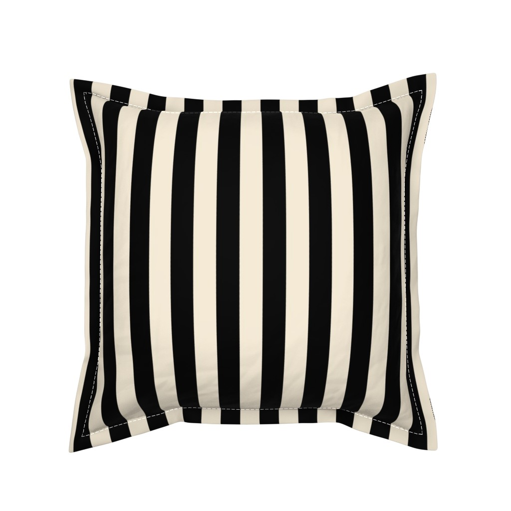 Serama Throw Pillow featuring Stripes - Cappuccino Cream Tan Black Nautical (.75 inch wide stripes) by bohobear