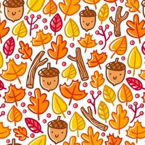 Cute acorns and leaves autumn pattern