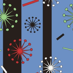 Retro Confetti Bursts (Blue)