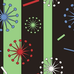 Retro Confetti Bursts (Black/Green)