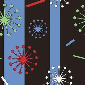 Retro Confetti Bursts (Black/Blue)