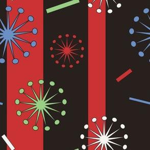 Retro Confetti Bursts (Black/Red)