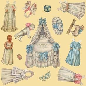 Edwardian Paper Doll Nursery ~ Cream ~ Medium