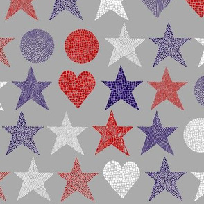 abstract_stars_small hearts_circles_red_purple_white_on_grey