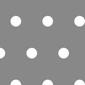 Polka Dot - White on Gray