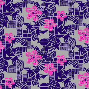Flowers on abstract background - purple, pink on grey