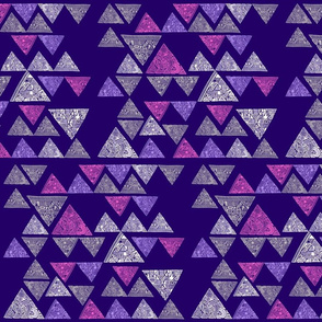Abstract patterned triangles - pink, lilac, white, grey on purple