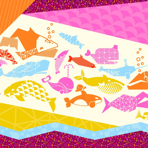 Sealife geometric quilt in pinks