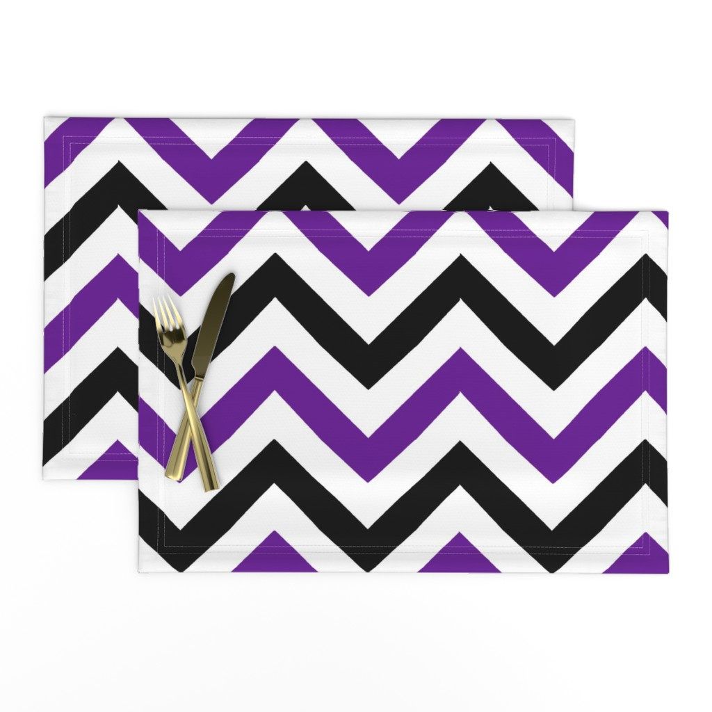 Lamona Cloth Placemats featuring halloween_purple_chevron by hollydavidson