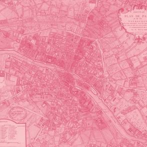 Plan de Paris ~ Paris Map ~ Pink