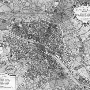 Plan de Paris ~ Paris Map ~ Black and White