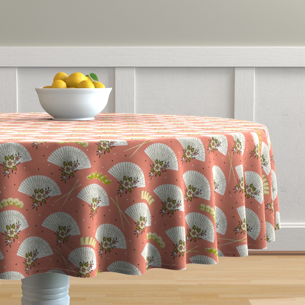 Malay Round Tablecloth featuring Dim sum geisha by lucybaribeau