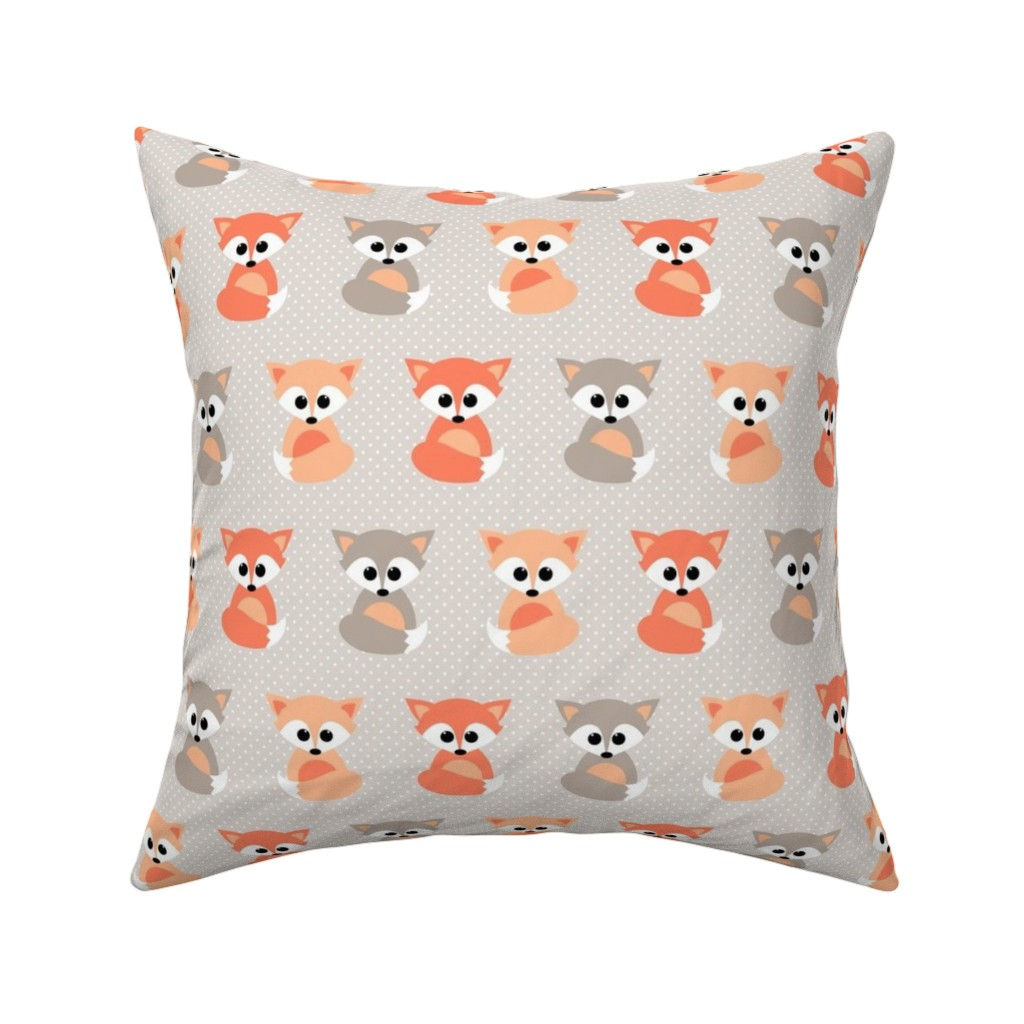 Catalan Throw Pillow featuring Baby foxes by heleenvanbuul