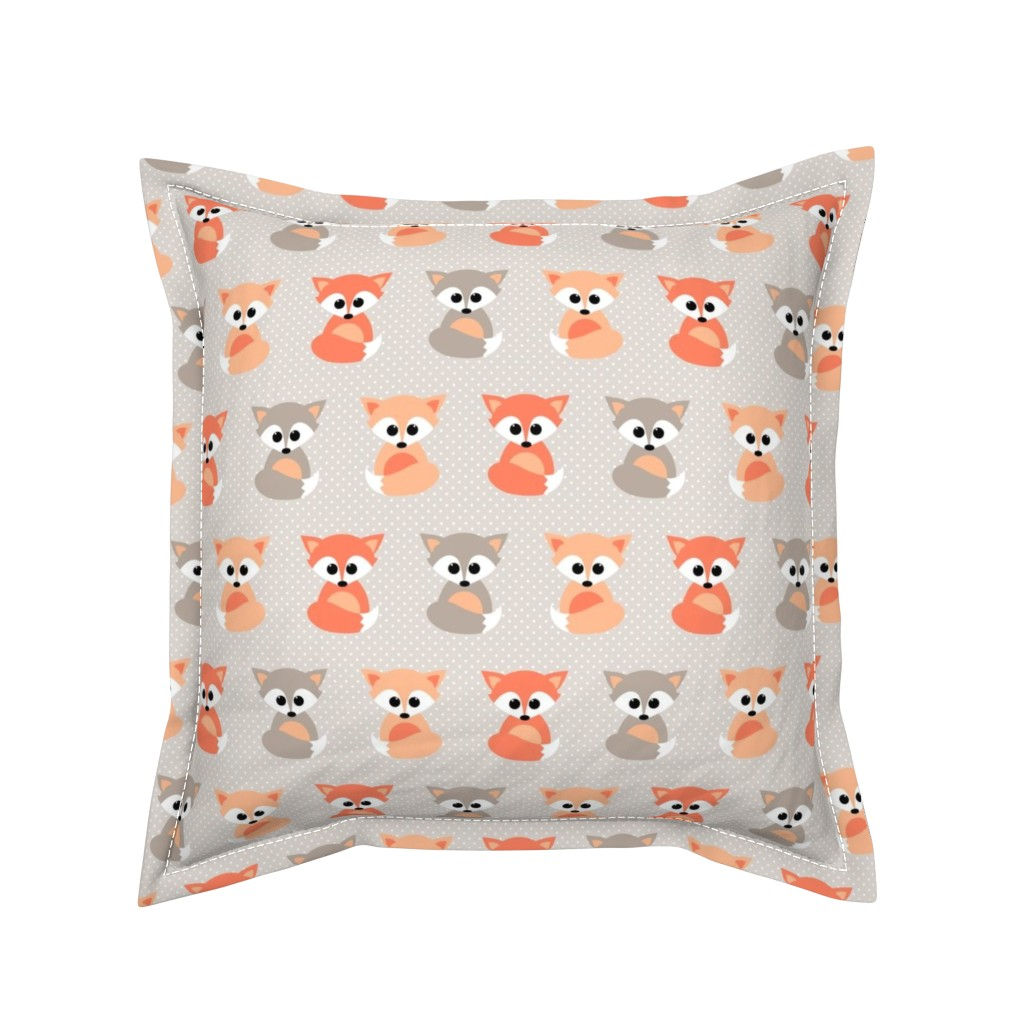 Serama Throw Pillow featuring Baby foxes by heleenvanbuul