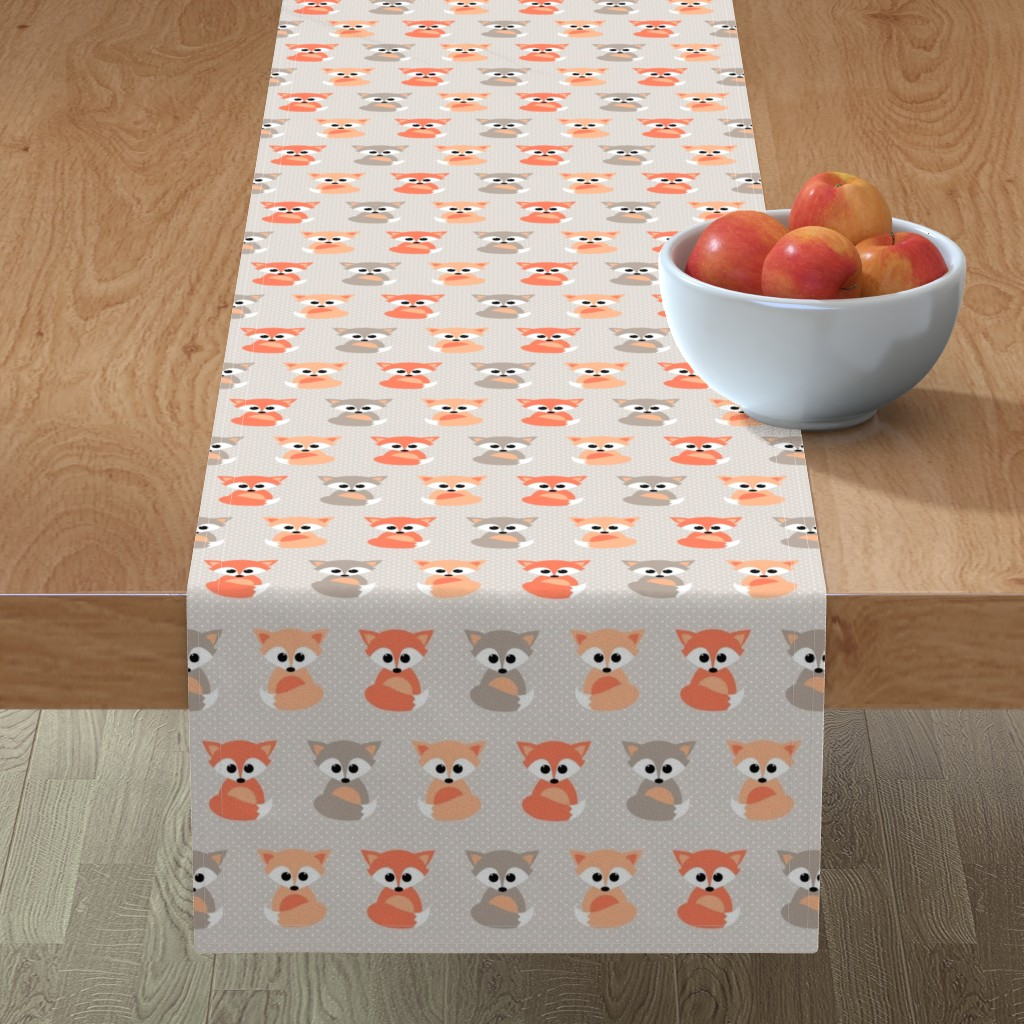 Minorca Table Runner featuring Baby foxes by heleenvanbuul