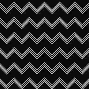 Small Scale Black and Gray Chevron