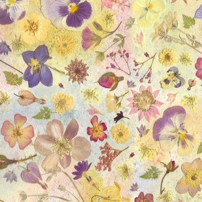 Floral Pansy watercolor Collage