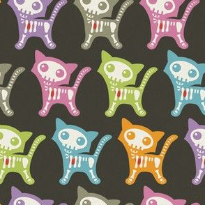 Skeleton Cat in Pink, Blue, Orange, Green, Purple, and Gray