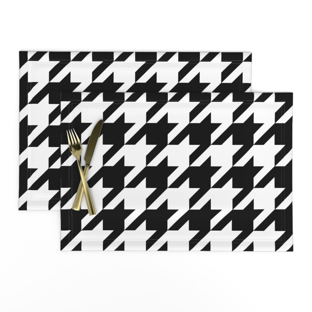 Lamona Cloth Placemats featuring Houndstooth Check // Black & White ((Medium)) by theartwerks