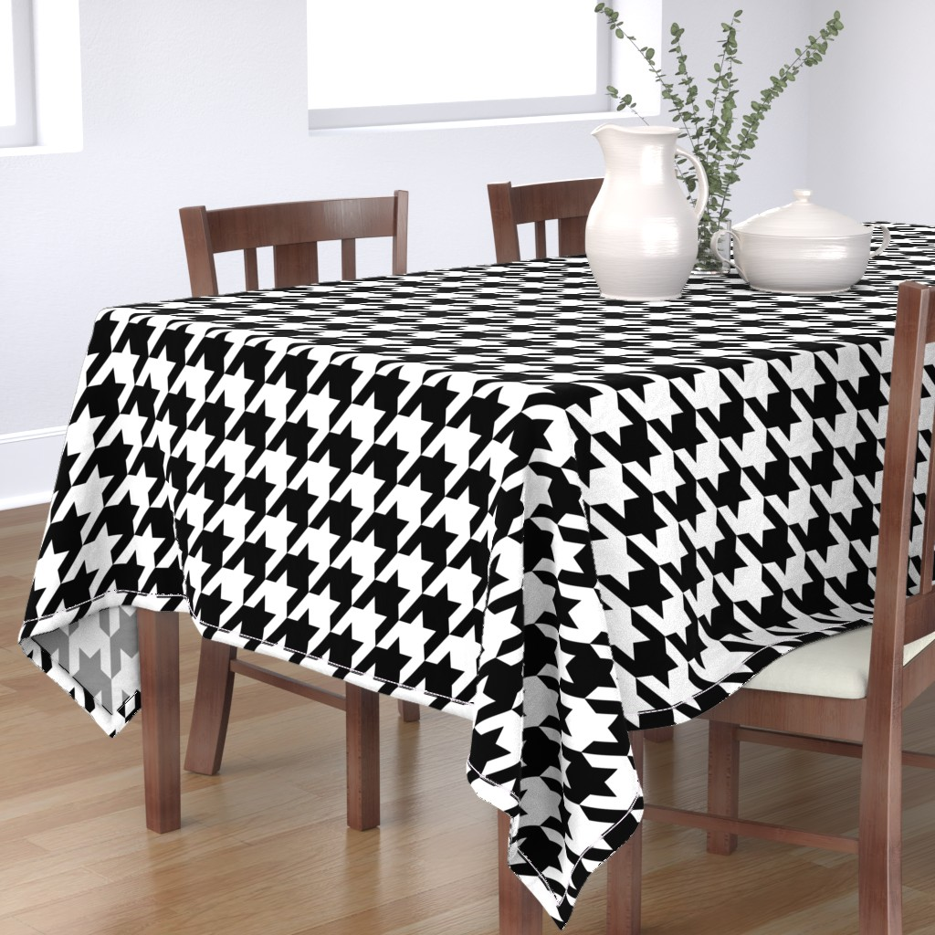 Bantam Rectangular Tablecloth featuring Houndstooth Check // Black & White ((Medium)) by theartwerks