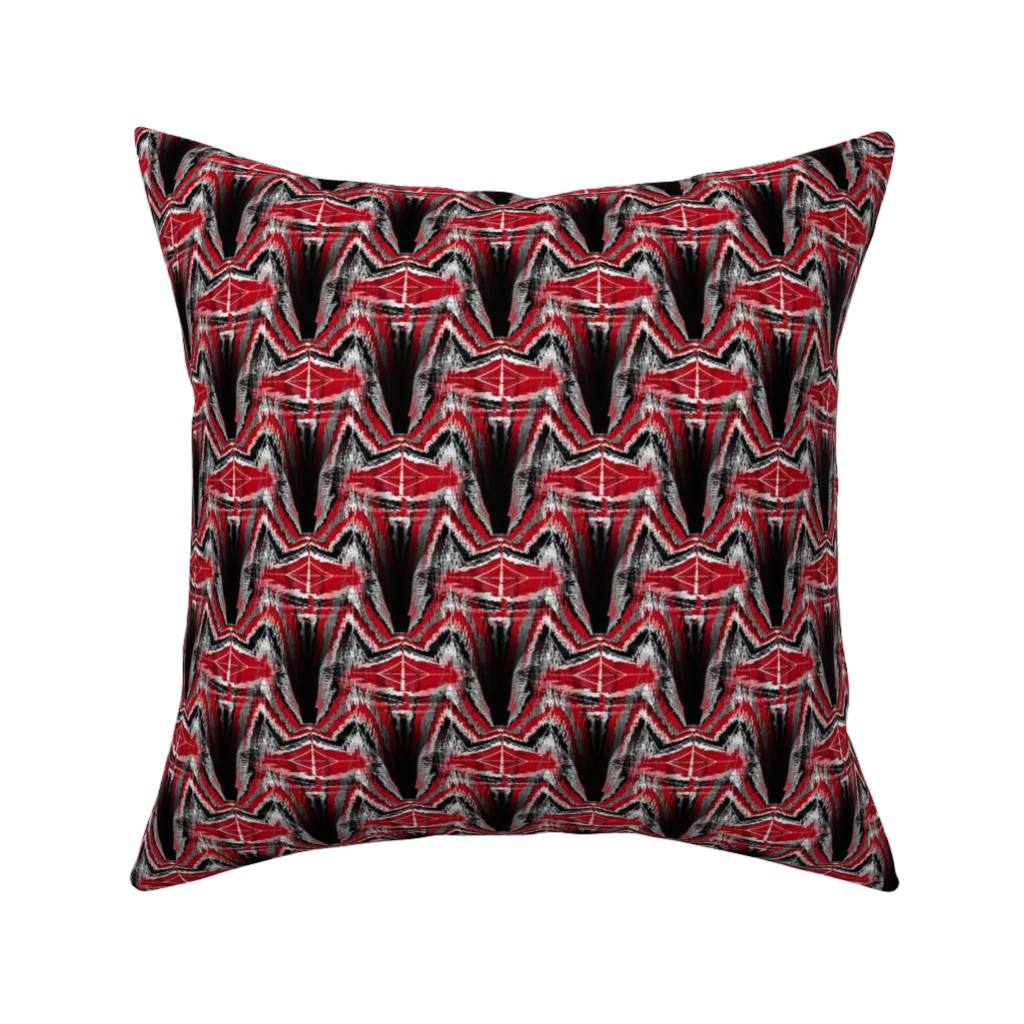 Catalan Throw Pillow featuring The Dragon's Scales red black gray grey by amy_g