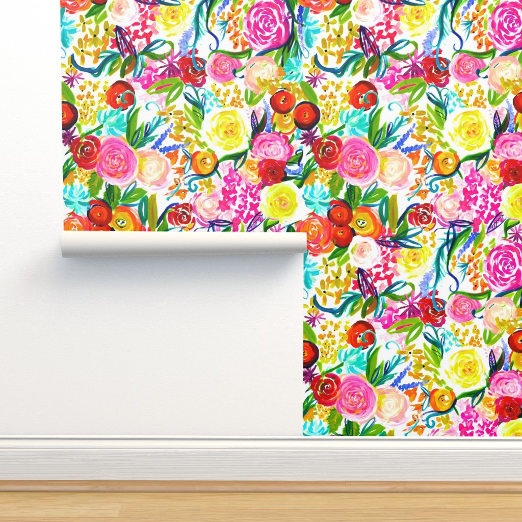 "Isobar Durable Wallpaper featuring Neon Summer Floral ""Regular"" 18"" Repeat by theartwerks"