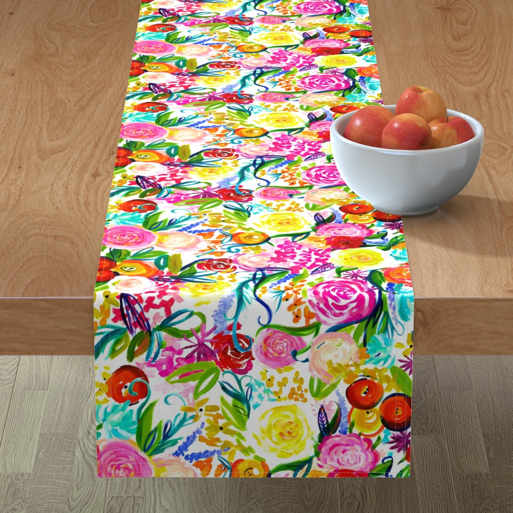 "Minorca Table Runner featuring Neon Summer Floral ""Regular"" 18"" Repeat by theartwerks"