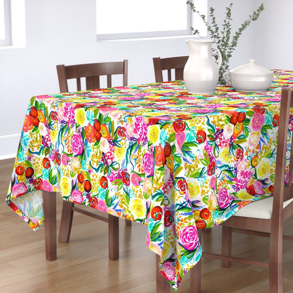 "Bantam Rectangular Tablecloth featuring Neon Summer Floral ""Regular"" 18"" Repeat by theartwerks"