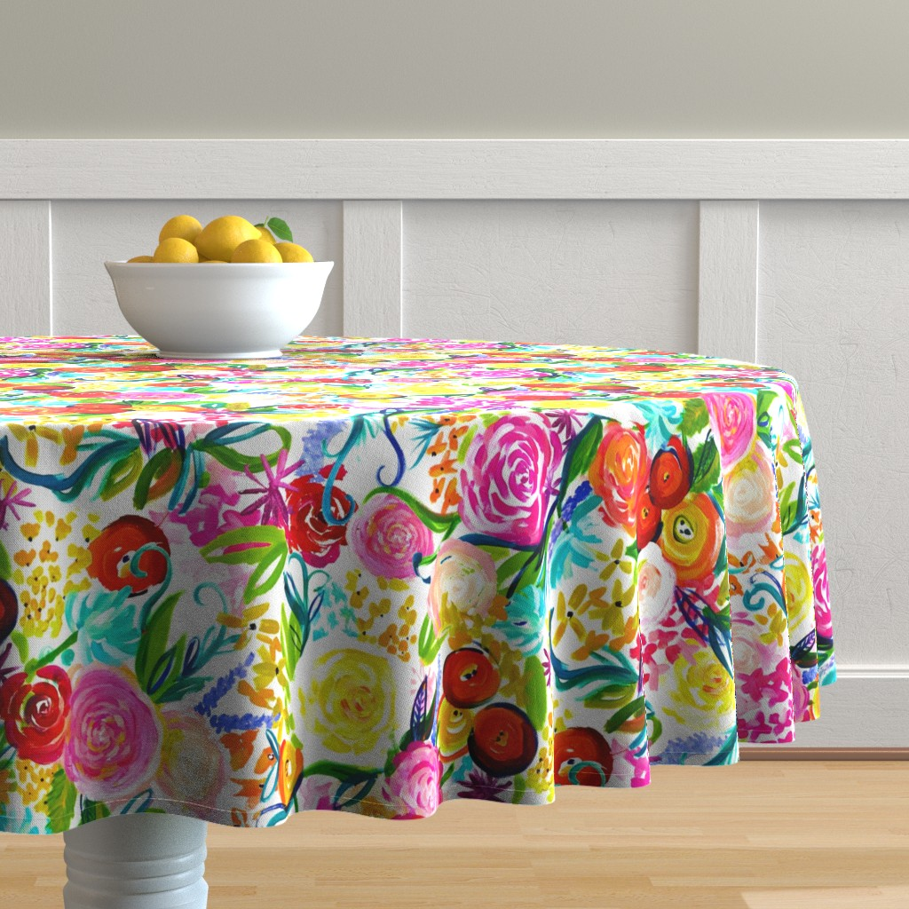 "Malay Round Tablecloth featuring Neon Summer Floral ""Regular"" 18"" Repeat by theartwerks"