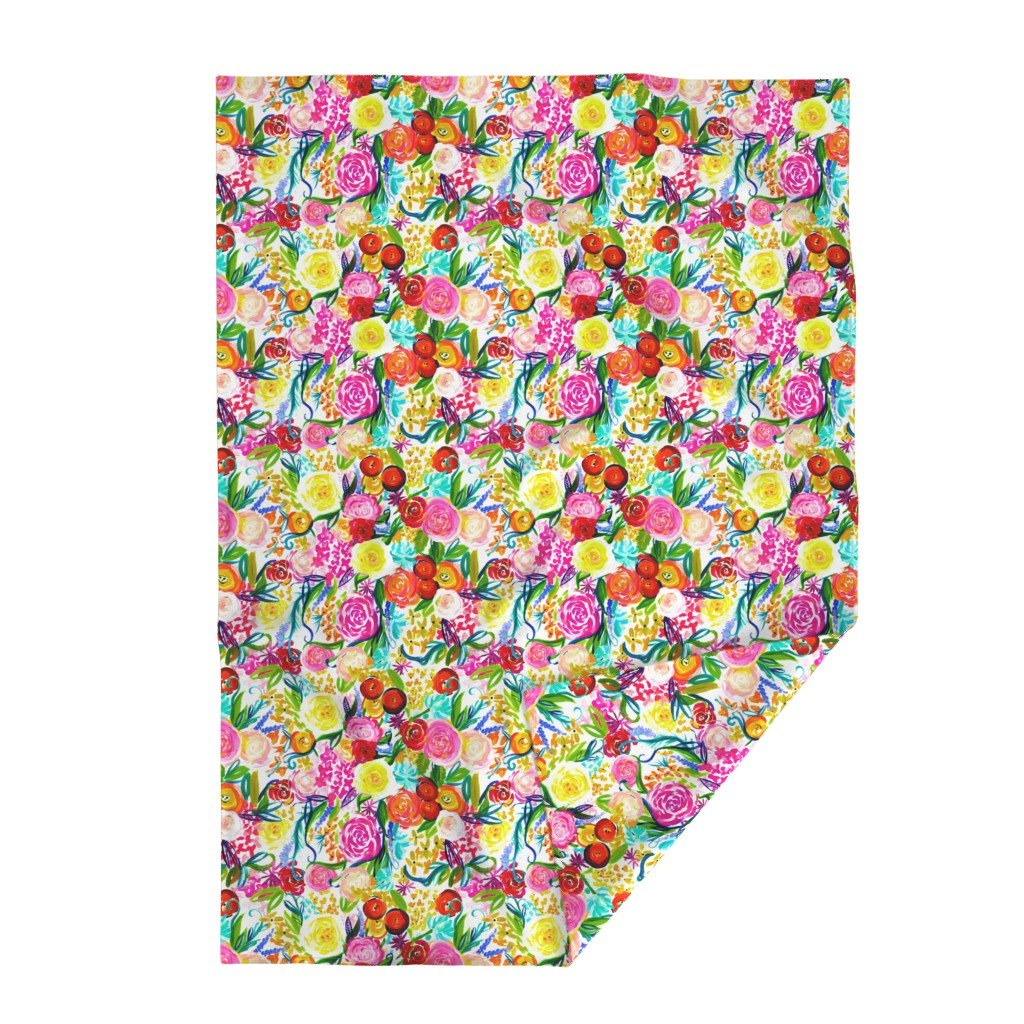 "Lakenvelder Throw Blanket featuring Neon Summer Floral ""Regular"" 18"" Repeat by theartwerks"