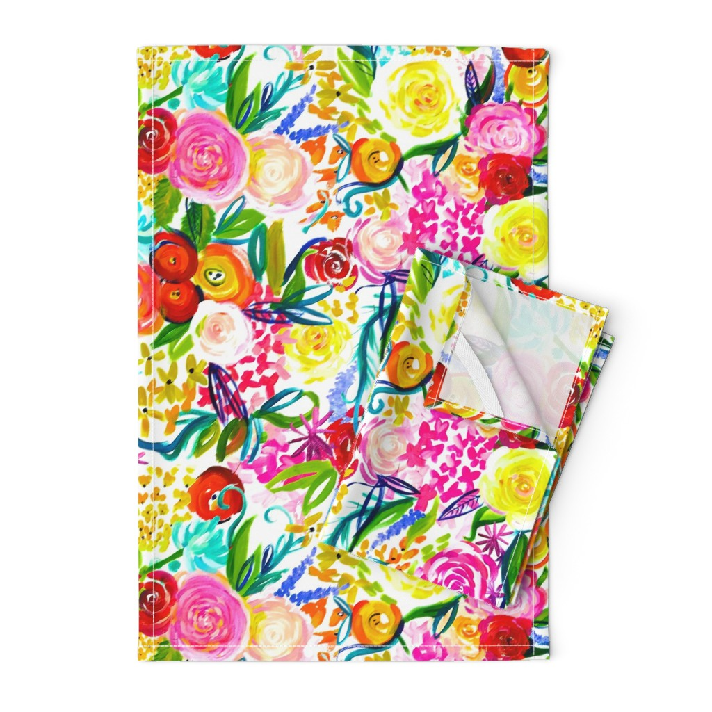 "Orpington Tea Towels featuring Neon Summer Floral ""Regular"" 18"" Repeat by theartwerks"