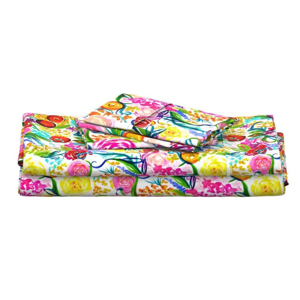 "Langshan Full Bed Set featuring Neon Summer Floral ""Regular"" 18"" Repeat by theartwerks"